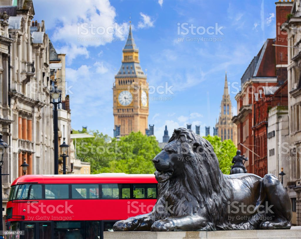 London Trafalgar Square in UK stock photo