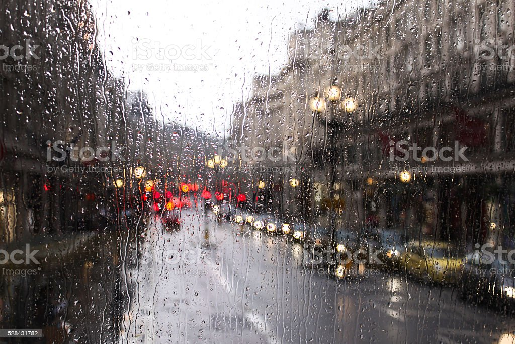 London traffic in a rainy day stock photo