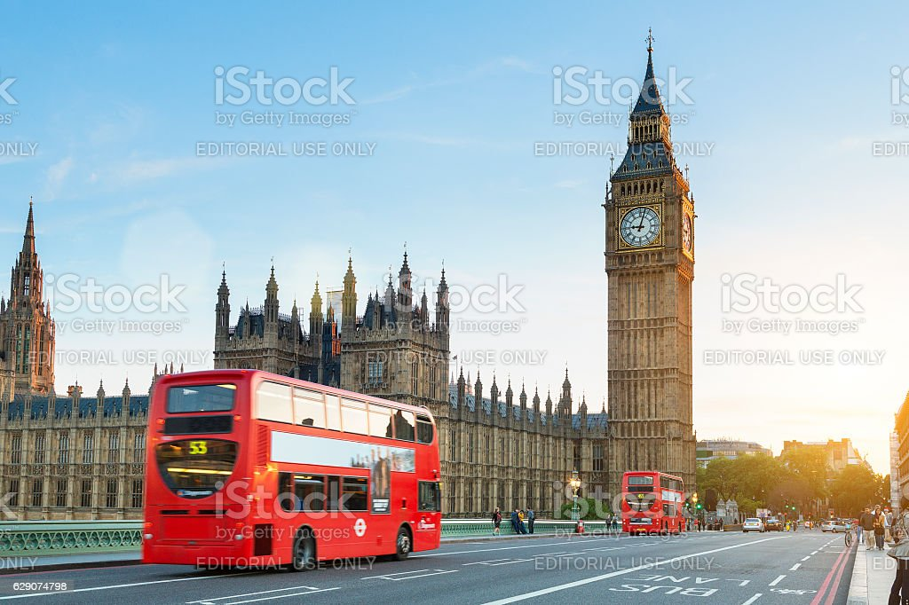London, Traffic on the Westminster bridge stock photo
