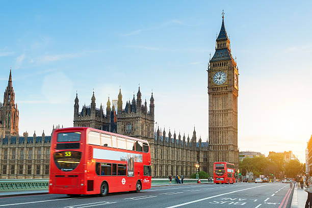 london, traffic on the westminster bridge - international landmark stock photos and pictures