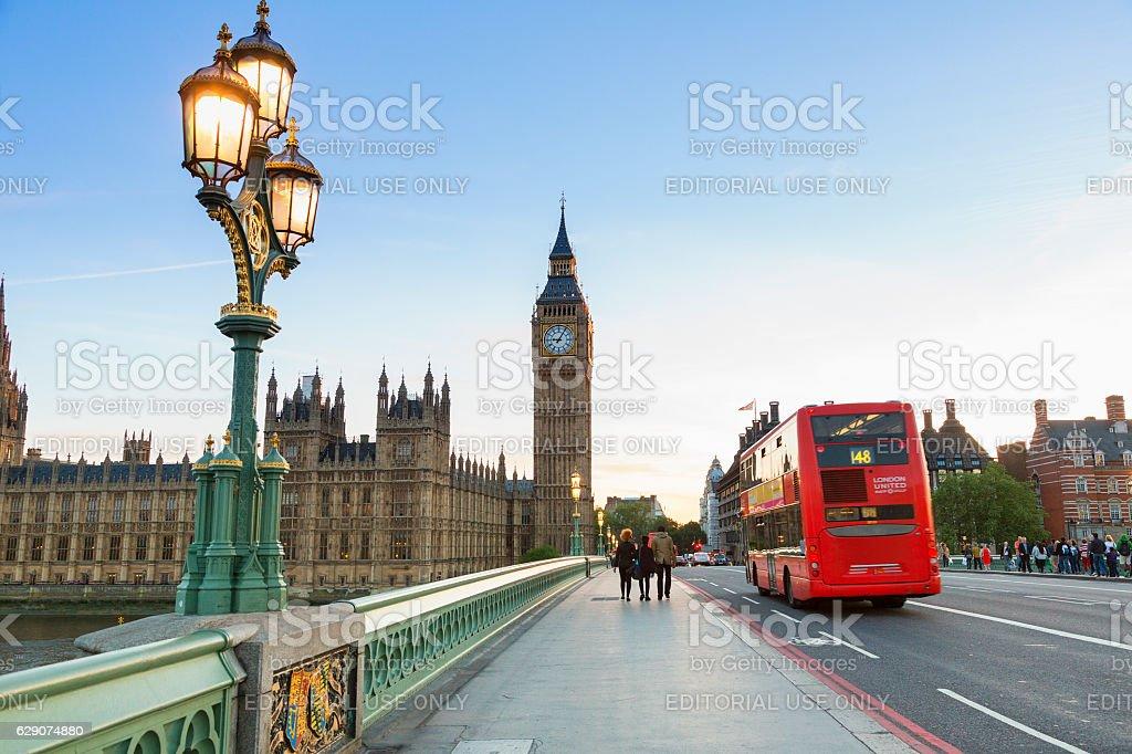 London, Traffic on Westminster bridge stock photo
