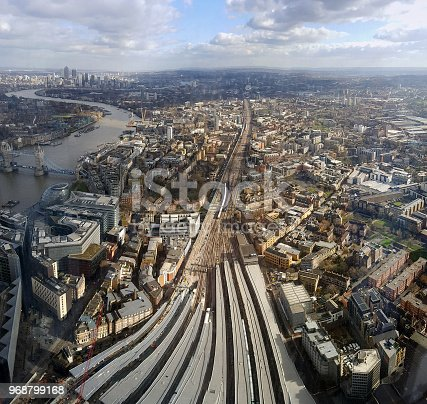London train station, aerial view