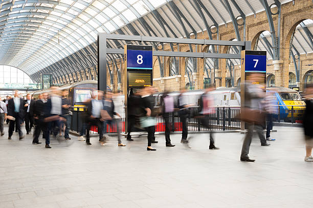 London Train Tube station Blur people movement in rush hour SONY A 7  24 MP, London Train Tube station, England, UK railroad station stock pictures, royalty-free photos & images