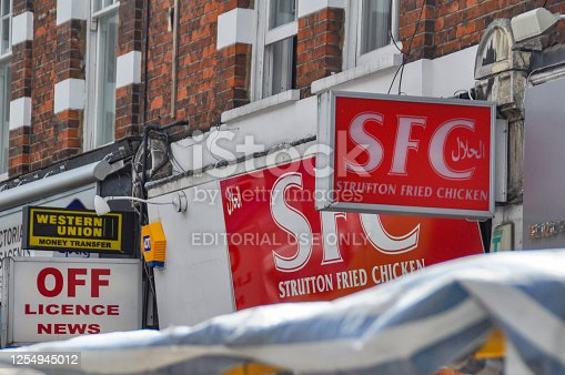 London, UK 17.08.2012: Signboard restaurant similar to the network of a famous brand