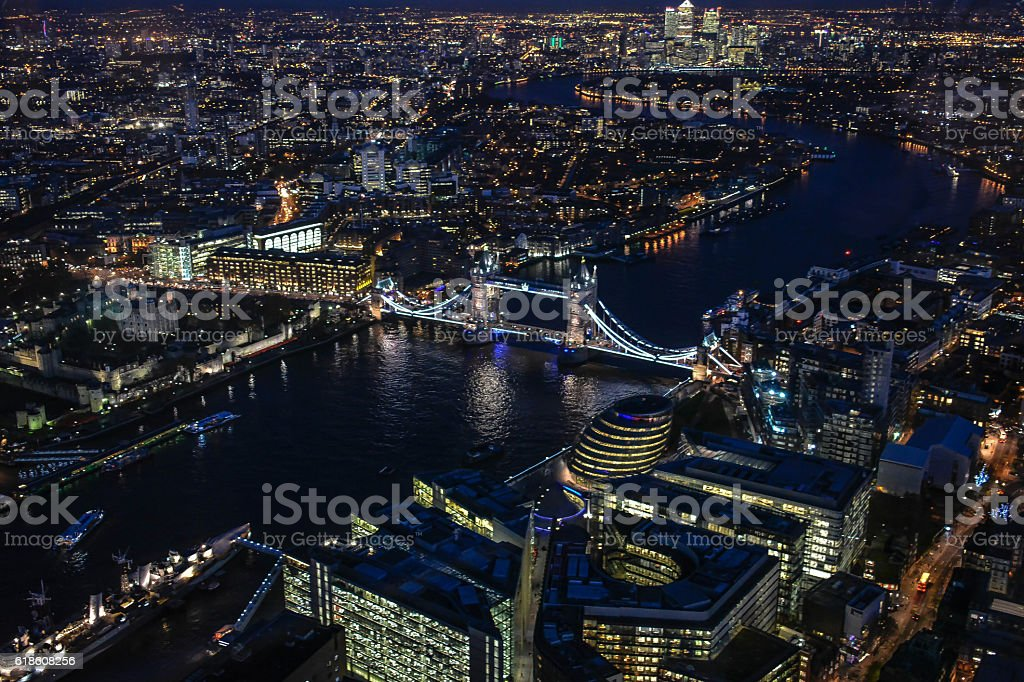 London, UK at night 3 of 4 images. City lights stock photo