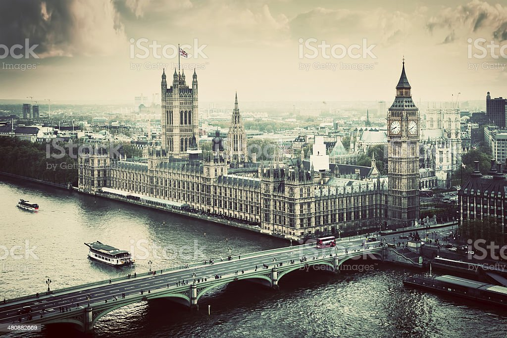 London, UK. Big Ben, the Palace of Westminster. Vintage stock photo