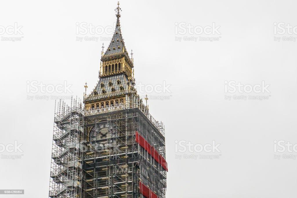 London / UK - November 14 2017: Close up Big Ben clock tower landmark of London is under renovation stock photo