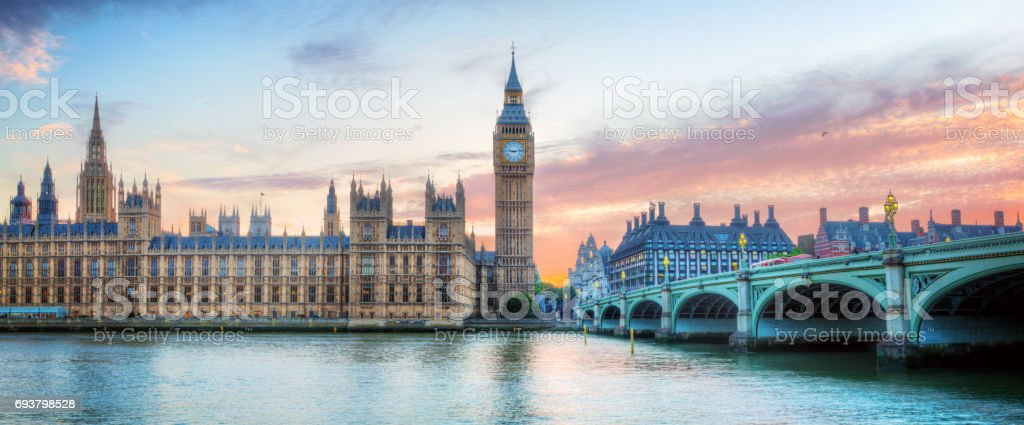 London, UK panorama. Big Ben in Westminster Palace on River Thames at sunset stock photo