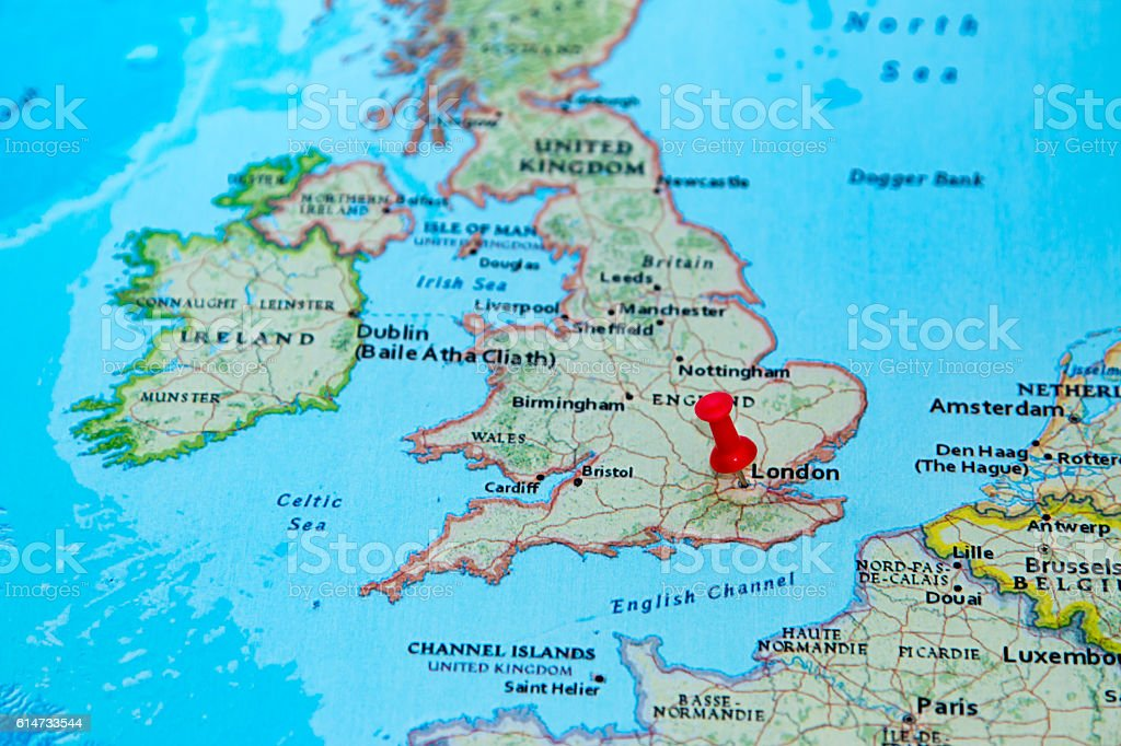 Map Of Uk In Europe.London Uk Pinned On A Map Of Europe Stock Photo Download Image Now