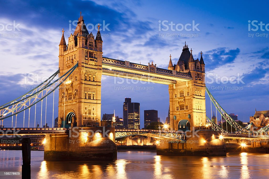 London UK Tower Bridge at River Thames Sunset Twilight Scene stock photo