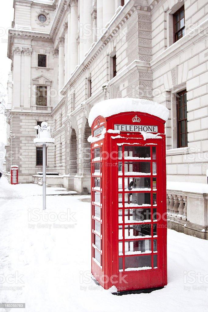 London under heavy snow stock photo