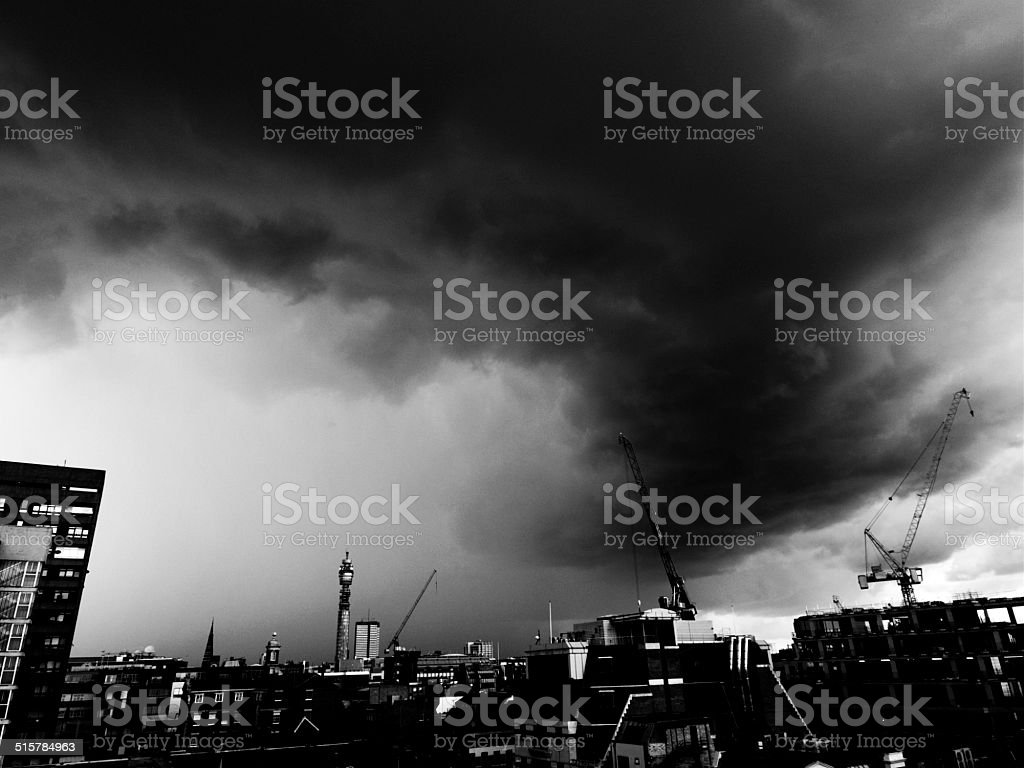 London under storm clouds stock photo