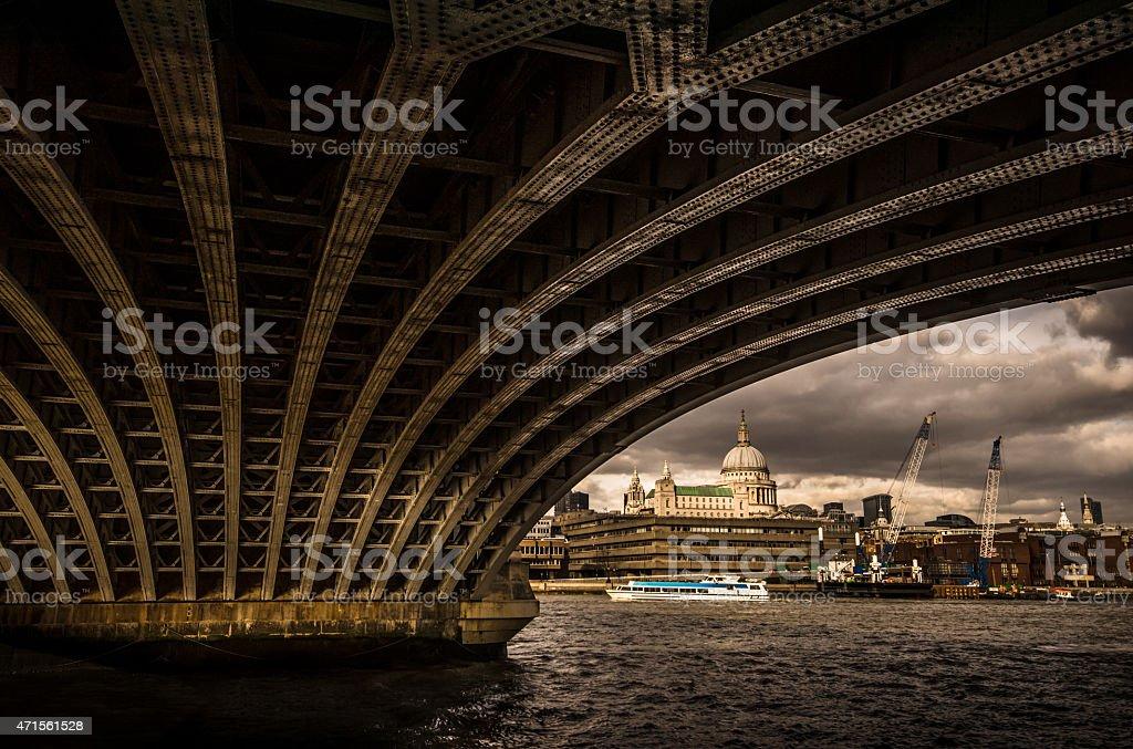 London under the bridge stock photo