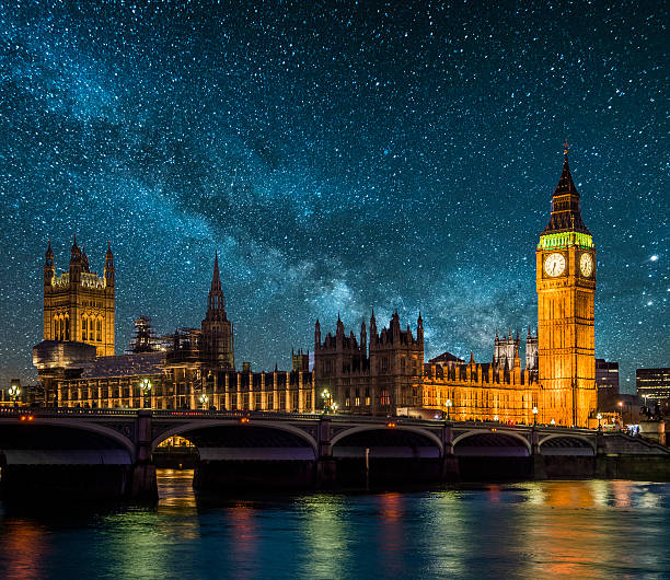 london under the stars - big ben stock photos and pictures