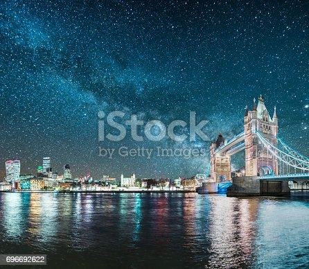 A beautiful image featuring London, England (Tower bridge and skyscrapers) under the Milky Way.