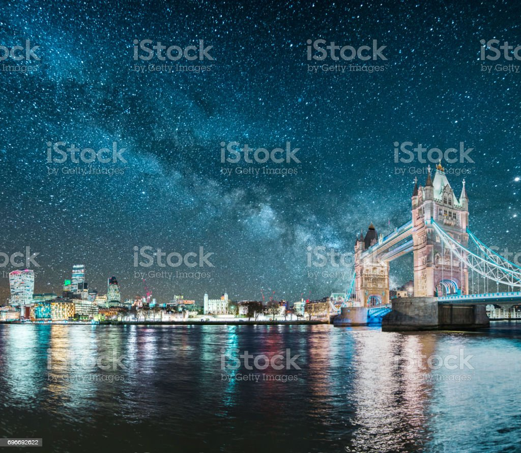 London under the stars stock photo