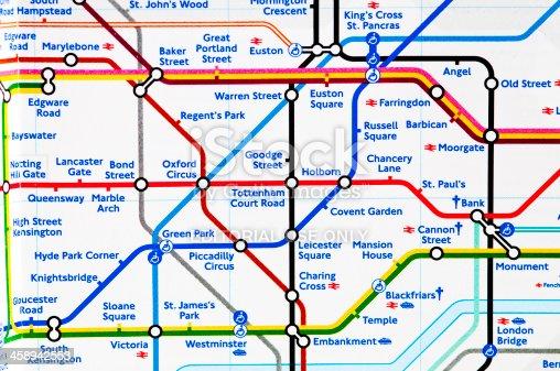 London Underground Map Close Up On Zone Stock Photo - London map of zones