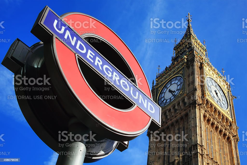 London Underground Sign And Big Ben stock photo