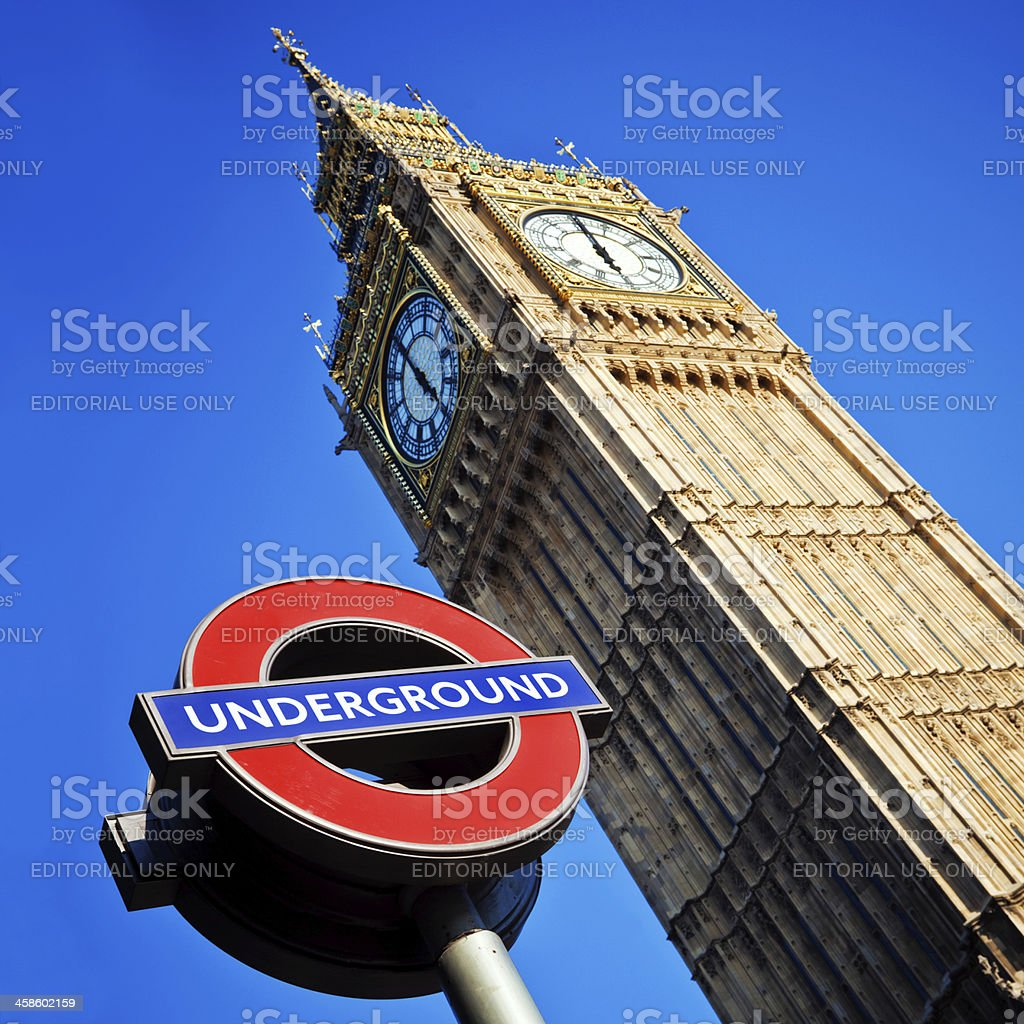 London Underground sign and Big Ben royalty-free stock photo