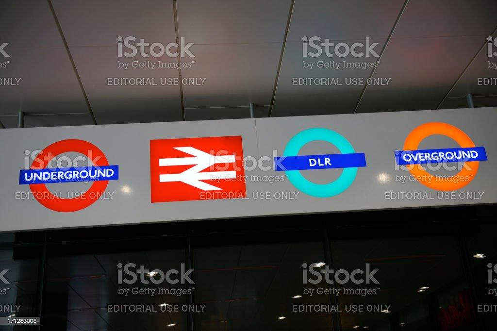 London Underground Signs with Rail Symbols stock photo