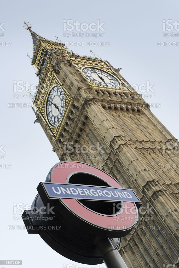 London Underground station at Westminster, Big Ben clock tower royalty-free stock photo