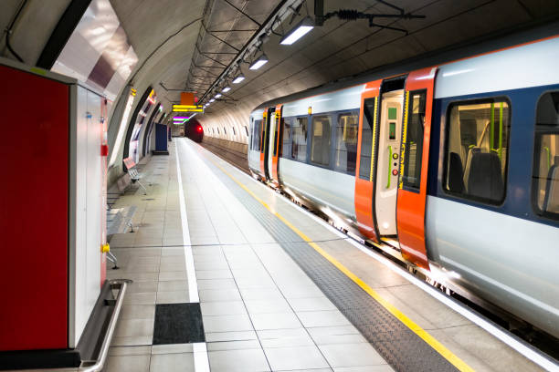 London Underground Subway Station And Train At Heathrow Airport Underground Subway Platform And Train subway platform stock pictures, royalty-free photos & images