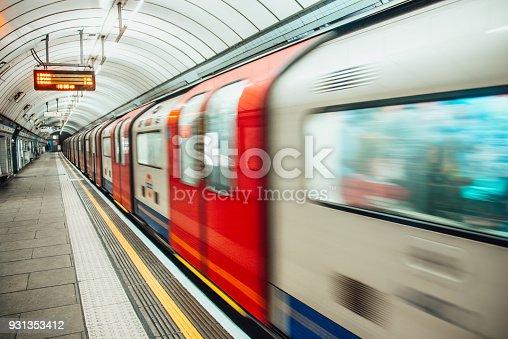 London underground train in motion