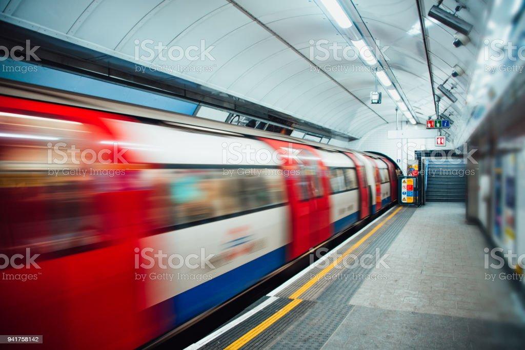 London Underground train in motion stock photo
