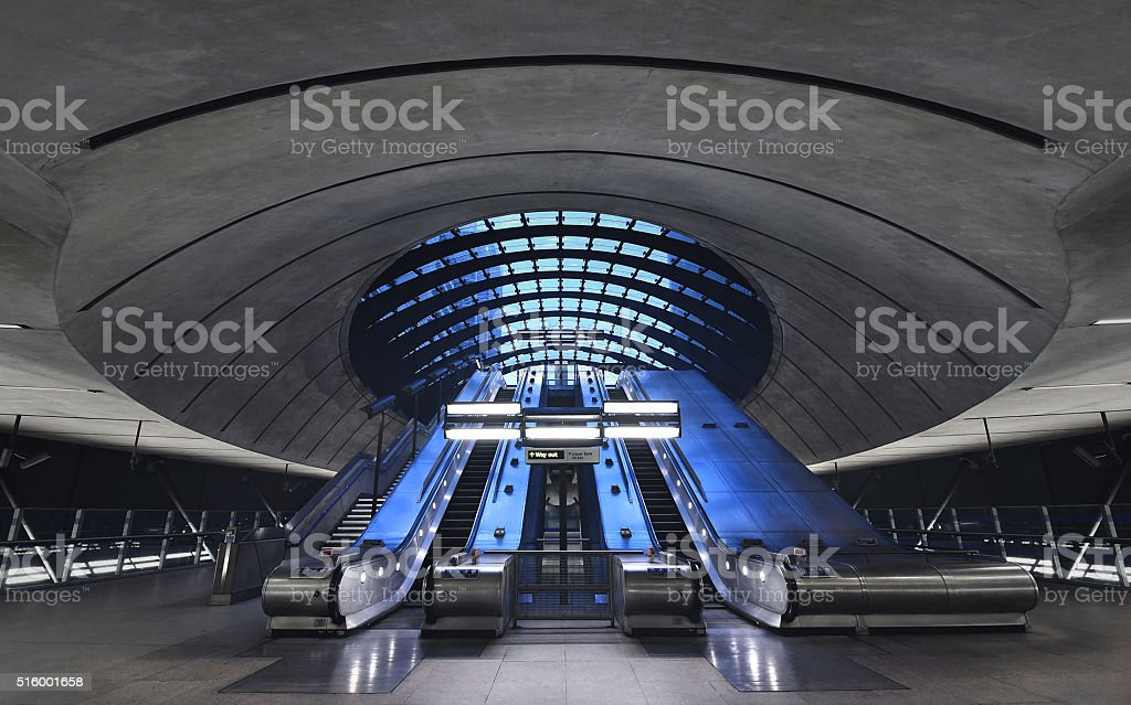 London underground/elevators/Canary Wharf stock photo