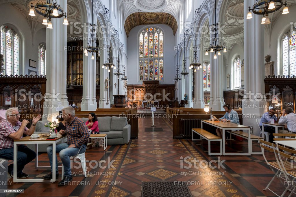 london, United Kingdom – June 22, 2017: An old church of St Mary Aldermary in the City of London is also a restaurant space. stock photo