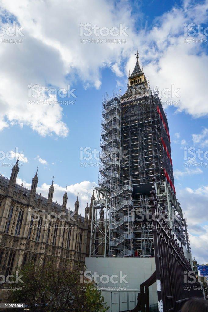 London / United Kingdom - November 20 2017: close up Big Ben clock tower under renovation stock photo