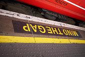 London, United Kingdom - June 27, 2018 : Mind the Gap sign in Victoria Station