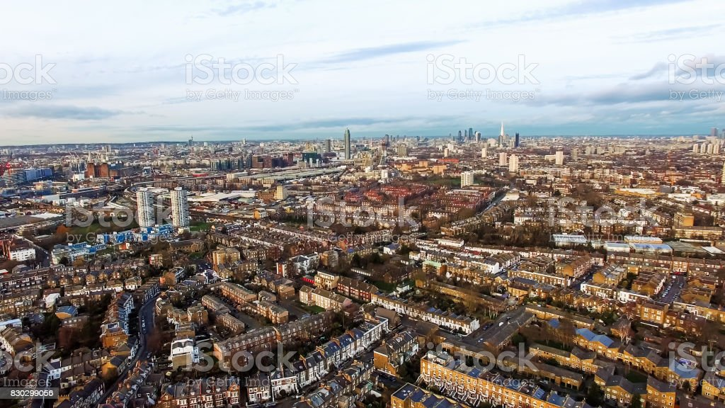 London Urban Cityscape Clapham and Battersea Aerial View stock photo