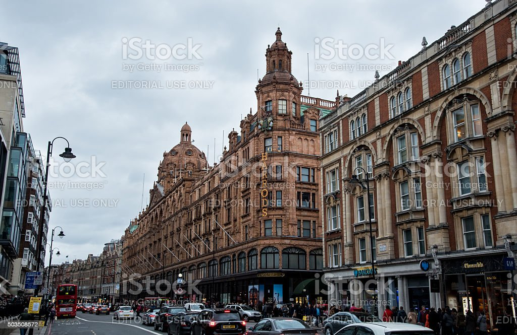 London urban landscape near Harrods retail store stock photo