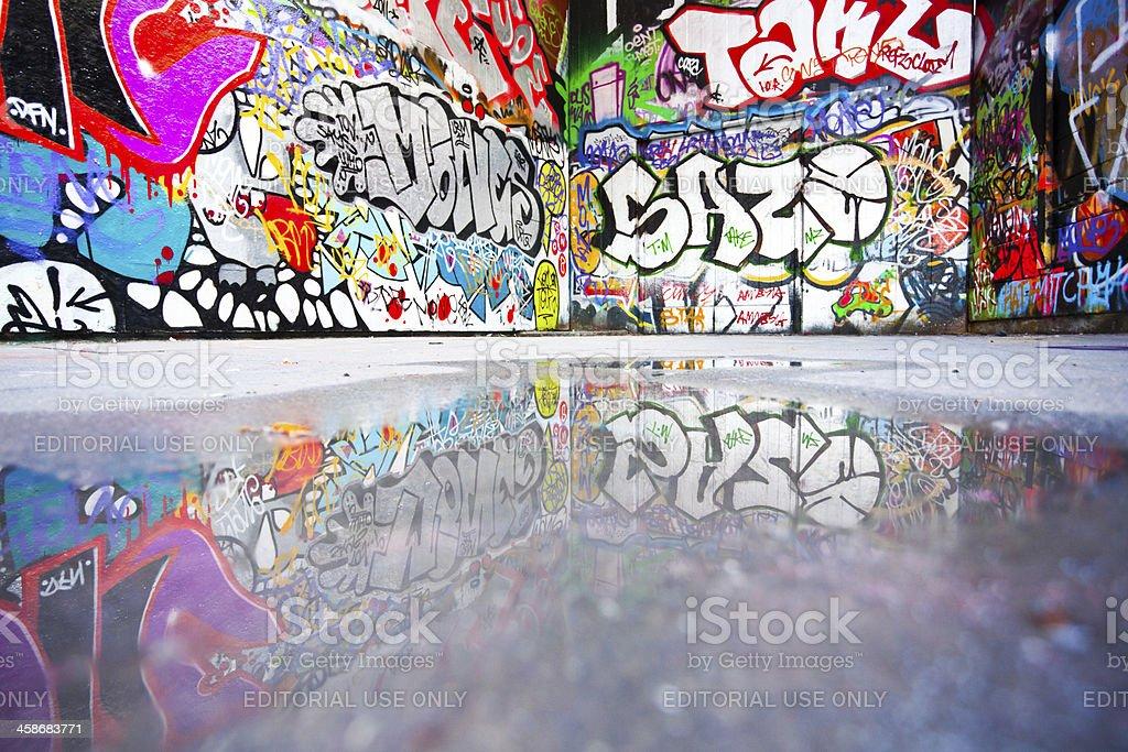 London Urban Scene and Graffiti Reflections royalty-free stock photo