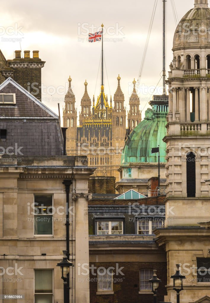 London - Victoria tower as seen from Trafalgar Square stock photo