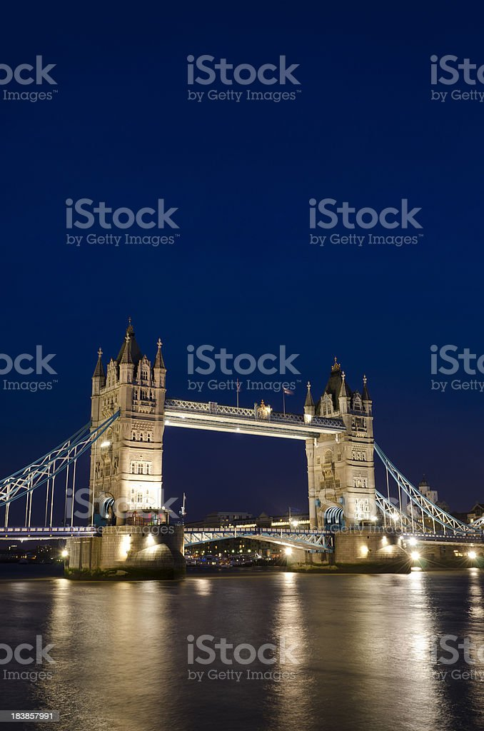 London, view across the Thames of Tower Bridge at night royalty-free stock photo