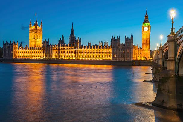 London Westminster Big Ben Houses of Parliament illuminated UK stock photo