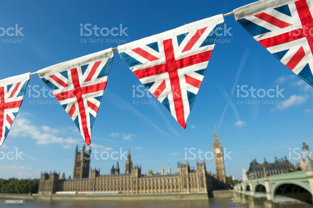 London Westminster Palace with Bright Union Jack Bunting stock photo