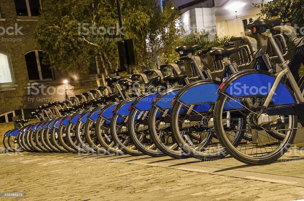 London with bicycles docks stations, England royalty-free stock photo