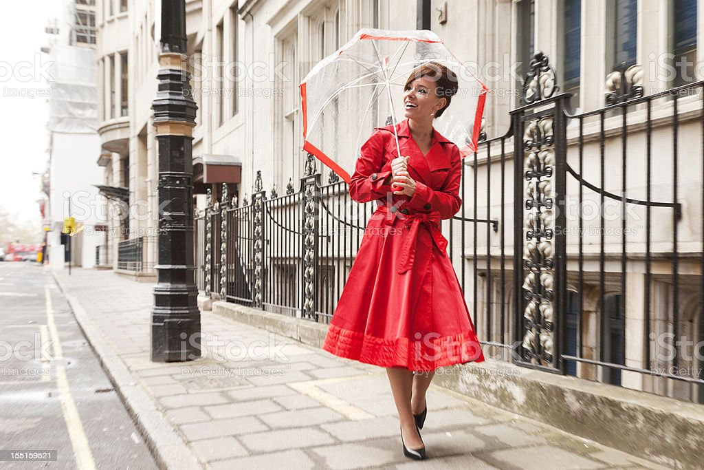 London Woman in Red royalty-free stock photo