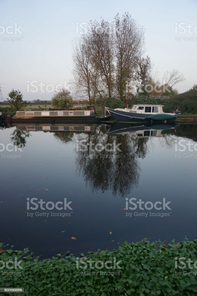London_canal scene with river boats stock photo