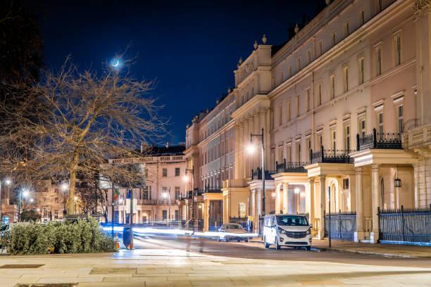London's Belgravia in the night stock photo
