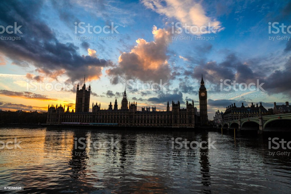 London's Palace Of Westminster At Dusk stock photo