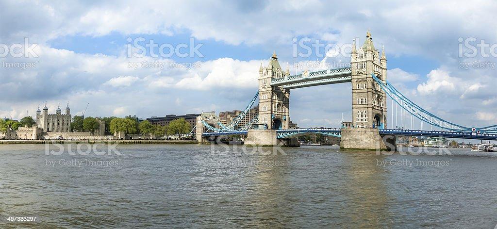 London's Tower Bridge and London Tower Panorama stock photo