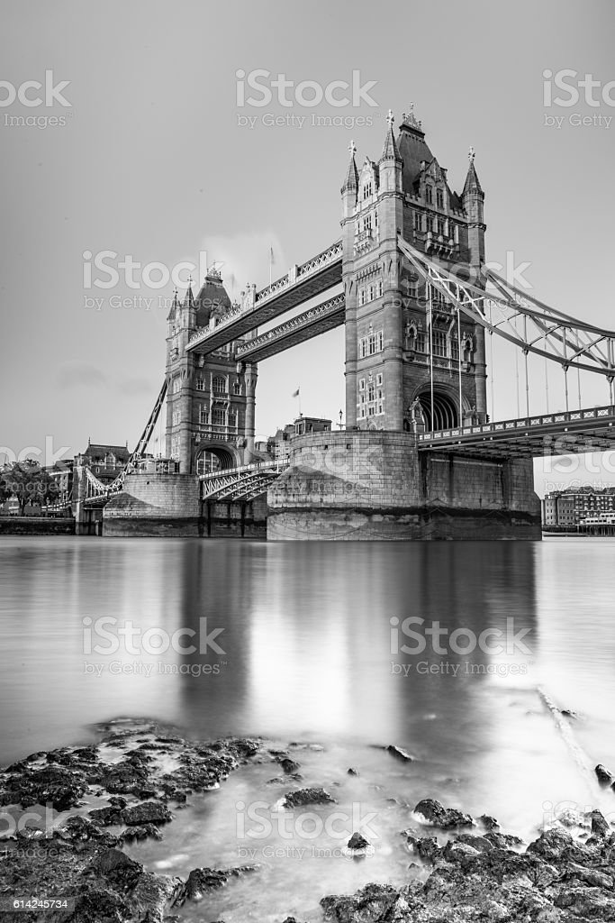 London's Tower Bridge in black and white. stock photo