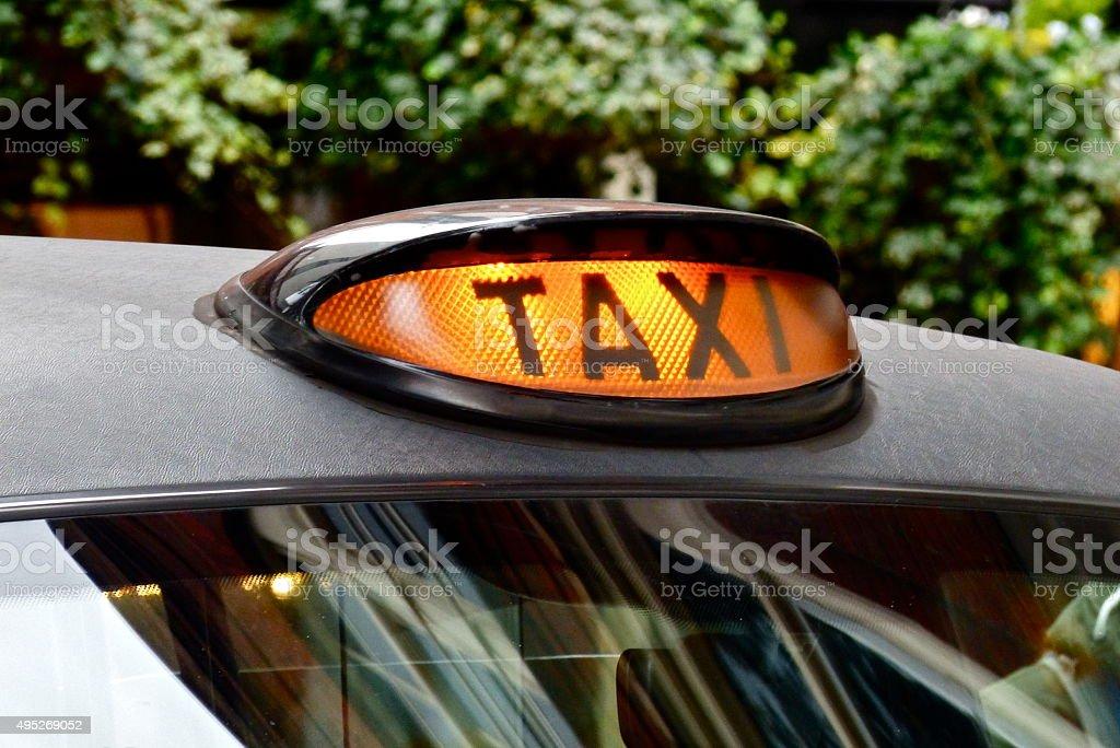Londres-Taxi, Enseignes de taxi, Noir, Taxi londonien, black cab stock photo