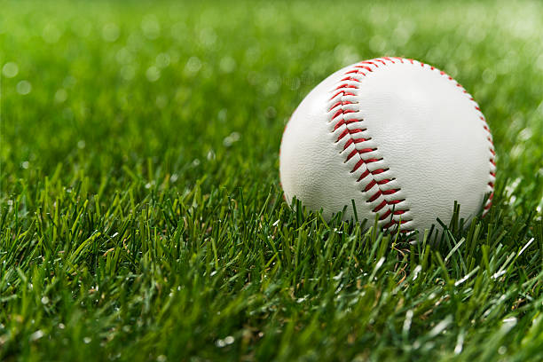 Lone Baseball in the outfield artificial turf stock photo