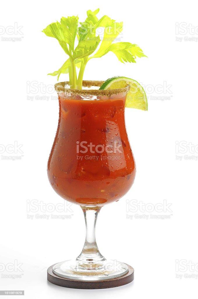 Lone bloody mary beverage with garnish stock photo