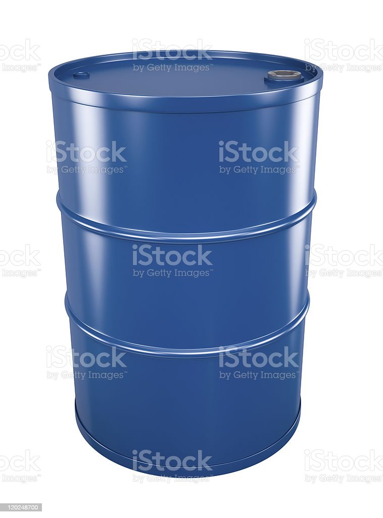 Lone blue oil barrel isolated on white background stock photo